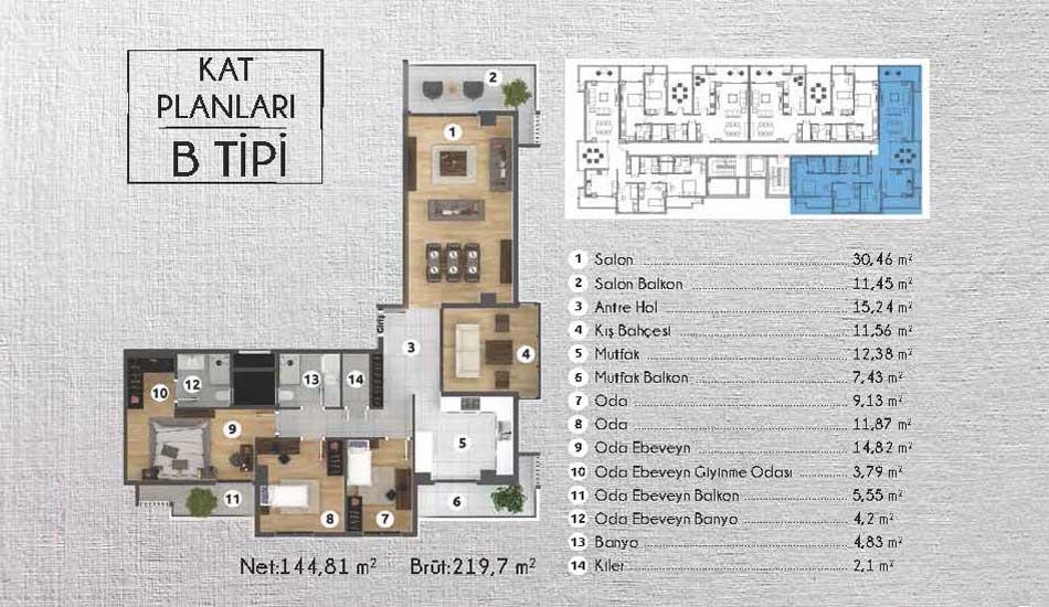 B Tipi Daire Kat Planı Loca Ataşehir İzmir